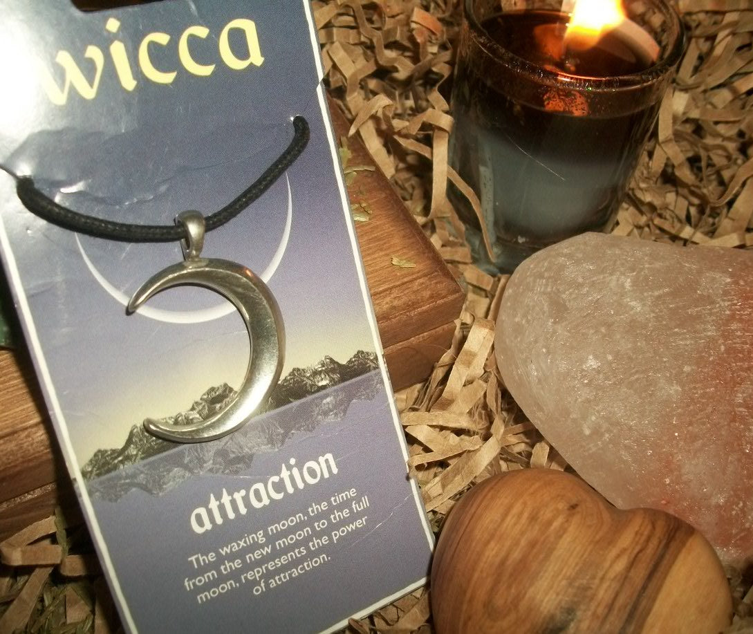 Pewter Waxing Moon Pendant - Attraction Amulet - autumn-dusk-spirits