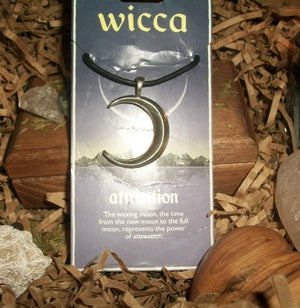 Pewter Waxing Moon Pendant - Attraction Amulet - Autumn Dusk Spirits