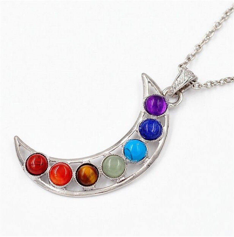 Beautiful Chakra Crescent Moon Pendant - Autumn Dusk Spirits