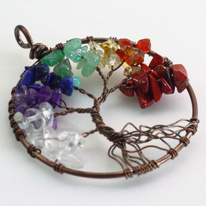 Chakra Multi-Gemstone Tree of Life Pendant - Autumn Dusk Spirits
