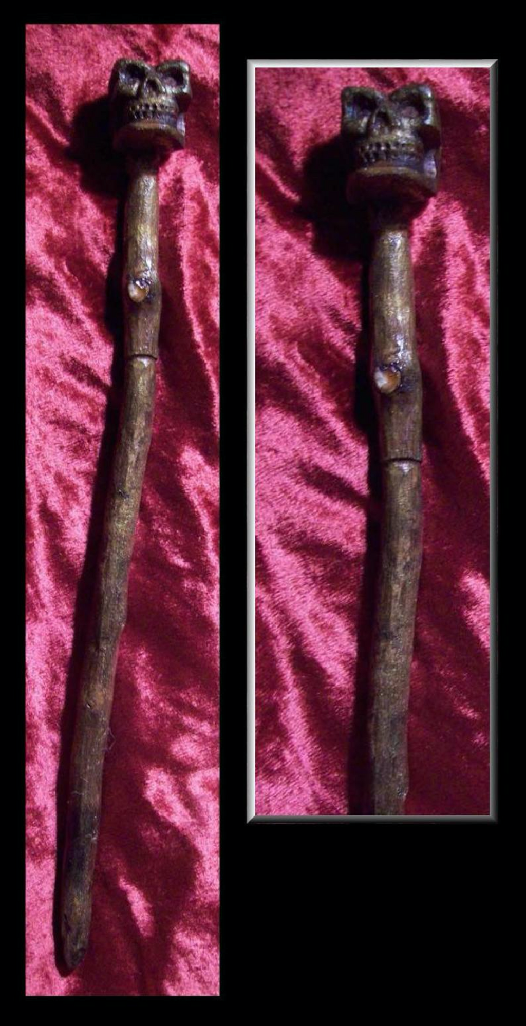 Willow Carved with Smoky Quartz Skull Wand and Stand - autumn-dusk-spirits