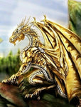 Magnificent Elder Male Gold & Silver Dragon – Artisan Made Amber Necklace OR Direct Bind