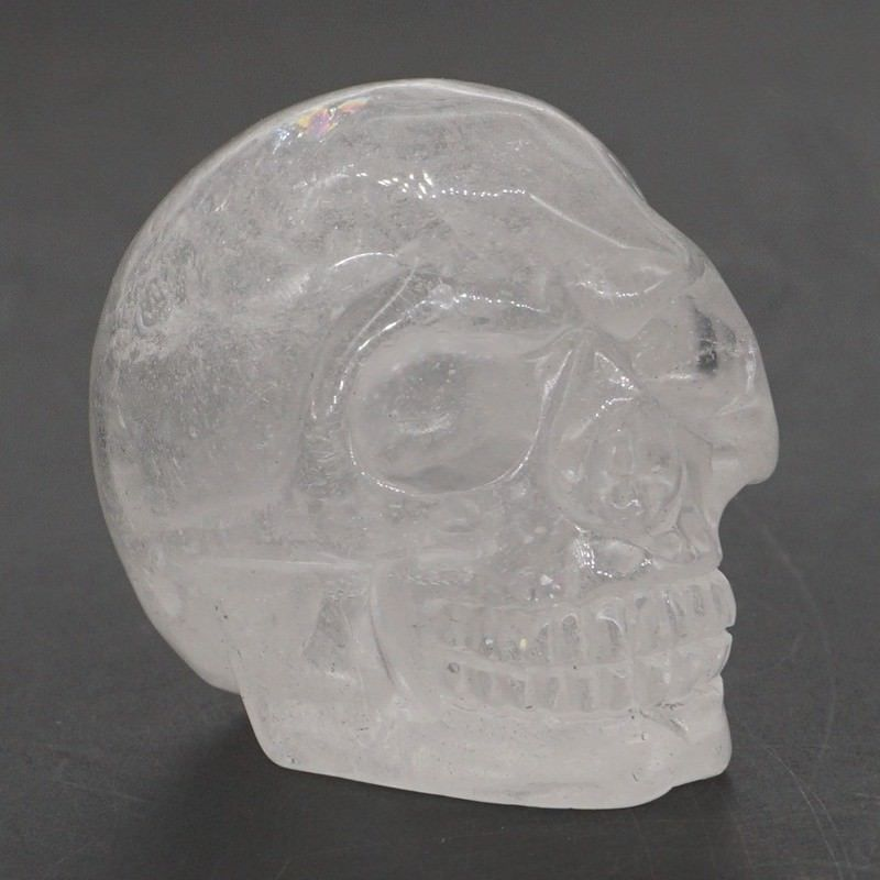 Clear Crystal Quartz Carved Skull - Autumn Dusk Spirits
