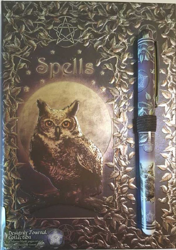 Luna Lakota Owl Spell book with Pen (BOS, Grimoire, Etc) - Autumn Dusk Spirits
