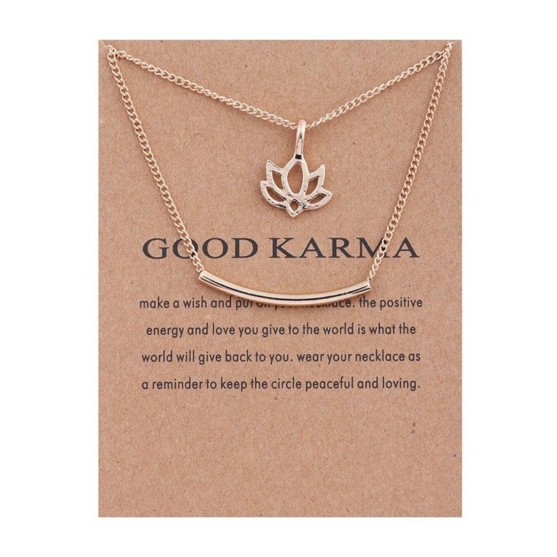 Lotus Flower Necklace - Good Karma - autumn-dusk-spirits