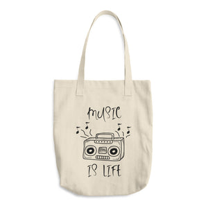 Music is Life Cotton Tote Bag