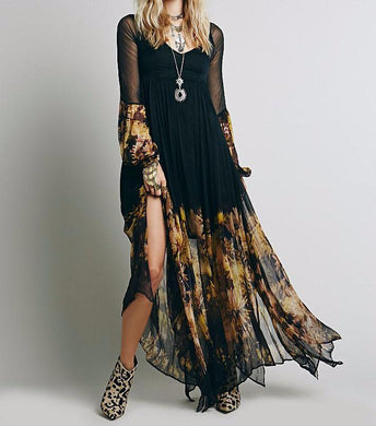 Black & Gold Floral Boho Maxi Dress - Yogalogical