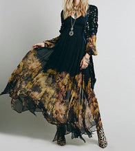 Load image into Gallery viewer, Black & Gold Floral Boho Maxi Dress