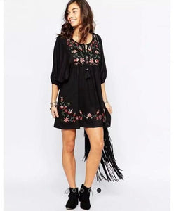 Mexican Vintage Boho Embroidered Mini Dress