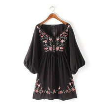 Load image into Gallery viewer, Mexican Vintage Boho Embroidered Mini Dress