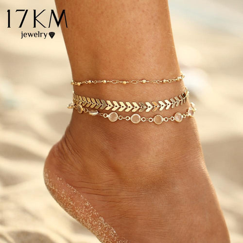 Womens Crystal Sequins Anklet Set