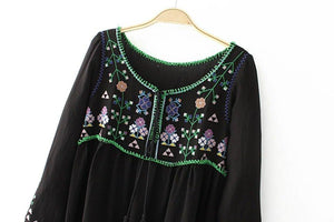 Long Sleeve Vintage Gypsy Maxi Dress Floral Embroidery - Yogalogical