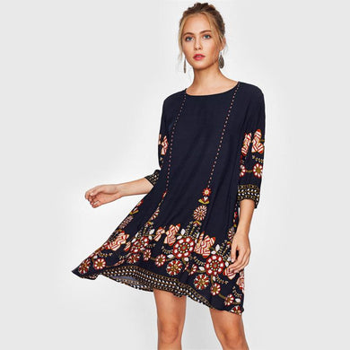 Navy Blue Flower Print Boho Dress - Yogalogical