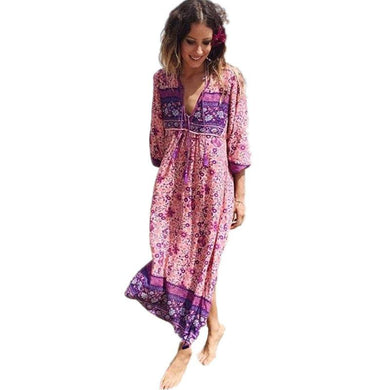 Boho Chic Floral Print Maxi Dress - Yogalogical