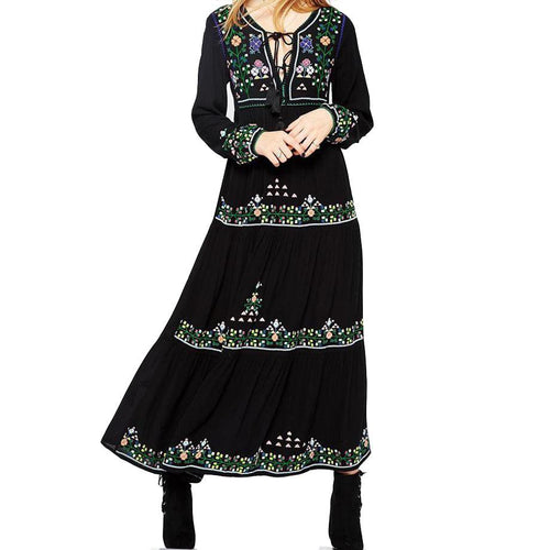 Long Sleeve Vintage Gypsy Maxi Dress Floral Embroidery