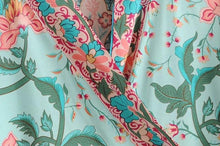 Load image into Gallery viewer, Mint Green Floral Peacock Kimono Short Top