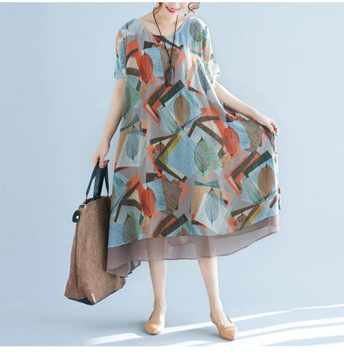 Leaf Print Loose Boho Dress