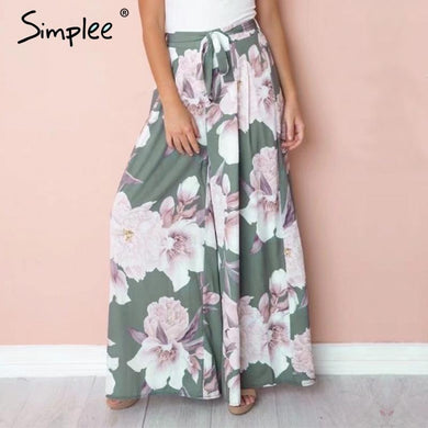 Sash Floral Print Wide Leg Harem Pants - Yogalogical
