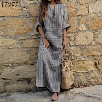 Striped Boho Kaftan Maxi Dress - Yogalogical