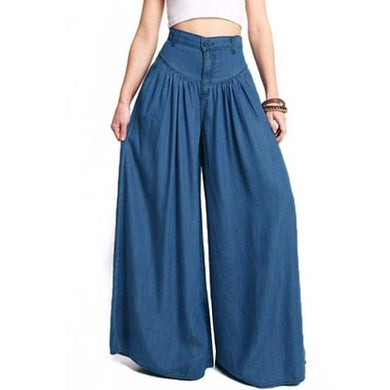 High Waist Long Harem Pants Pockets Loose Pleated Denim Blue Wide Leg - Yogalogical