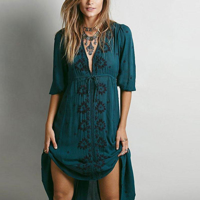 Boho Floral Embroidered Long Fable Dress