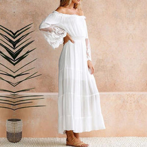 Strapless Long Sleeve Off Shoulder Lace Boho Maxi Dress