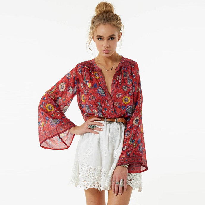 Boho Candy Red Flare Sleeve Blouse