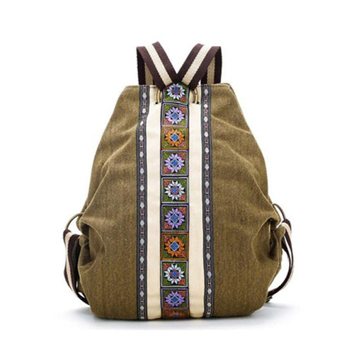 Tribal Ethnic Canvas Womens Backpack