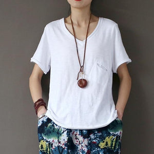 Summer Cotton White T-Shirt - Yogalogical