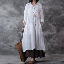 Load image into Gallery viewer, Cotton Button Down Long Shirt Dress
