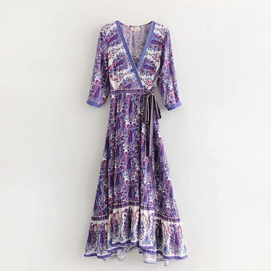 Boho Vintage Floral Print Sashes Maxi Dress - Yogalogical