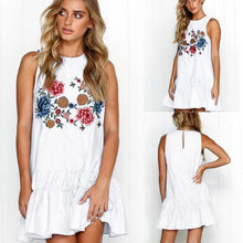 Load image into Gallery viewer, Sleeveless Floral Print Boho Mini Dress
