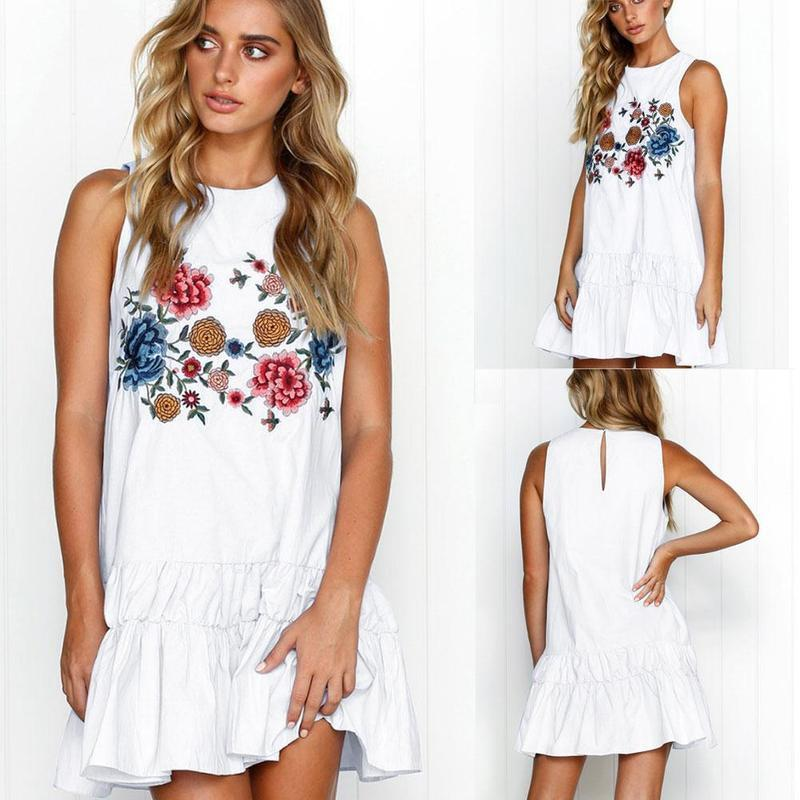 Sleeveless Floral Print Boho Mini Dress