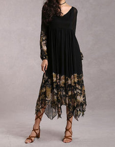 Black & Gold Floral Boho Maxi Dress