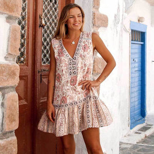 Beach Rose Boho Mini Dress - Yogalogical