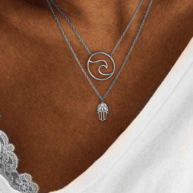 Boho Palm Wave Pendant Necklace Multi-layer - Yogalogical