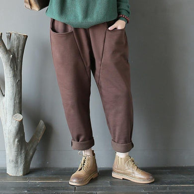 Cotton Fleece Warm Harem Pants - Yogalogical