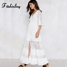 Load image into Gallery viewer, Boho White Patchwork Lace Maxi Dress
