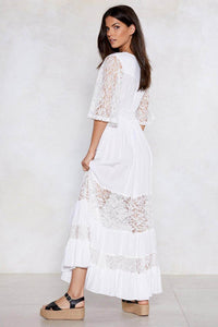 Boho White Patchwork Lace Maxi Dress