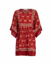Load image into Gallery viewer, Red Ikat Print Boho Gypsy Mini Dress - Yogalogical