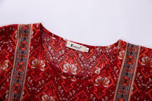 Load image into Gallery viewer, Red Ikat Print Boho Gypsy Mini Dress