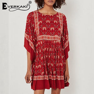 Red Ikat Print Boho Gypsy Mini Dress - Yogalogical