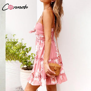 Spaghetti Strap Ruffles Boho Mini Dress - Yogalogical