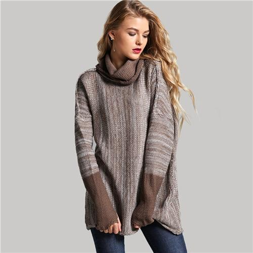 Brown Space Dye Cowl Neck Sweater