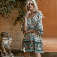 Load image into Gallery viewer, Pale Turquoise & Peach Mini Boho Dress
