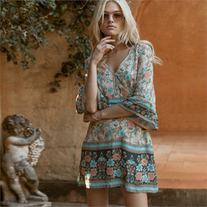 Pale Turquoise & Peach Mini Boho Dress