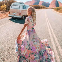 Load image into Gallery viewer, Pink Boho Floral Maxi Dress - Yogalogical
