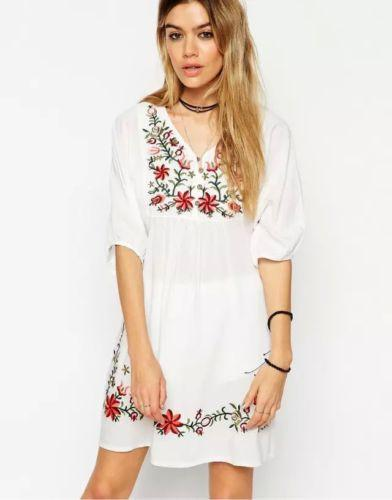 Mexican Boho Embroidered Mini Dress