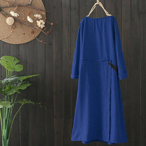 Vintage Loose-Tie Midi Dress