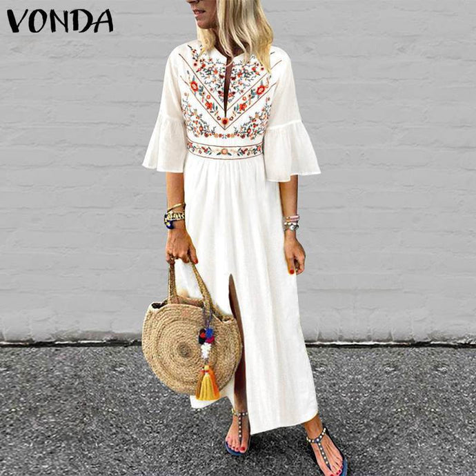 White Floral Embroidered Boho Dress